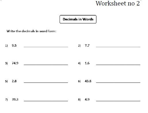 Writing Decimals In Words Worksheets Decimals To Fractions – Expanded Form Decimals Worksheet
