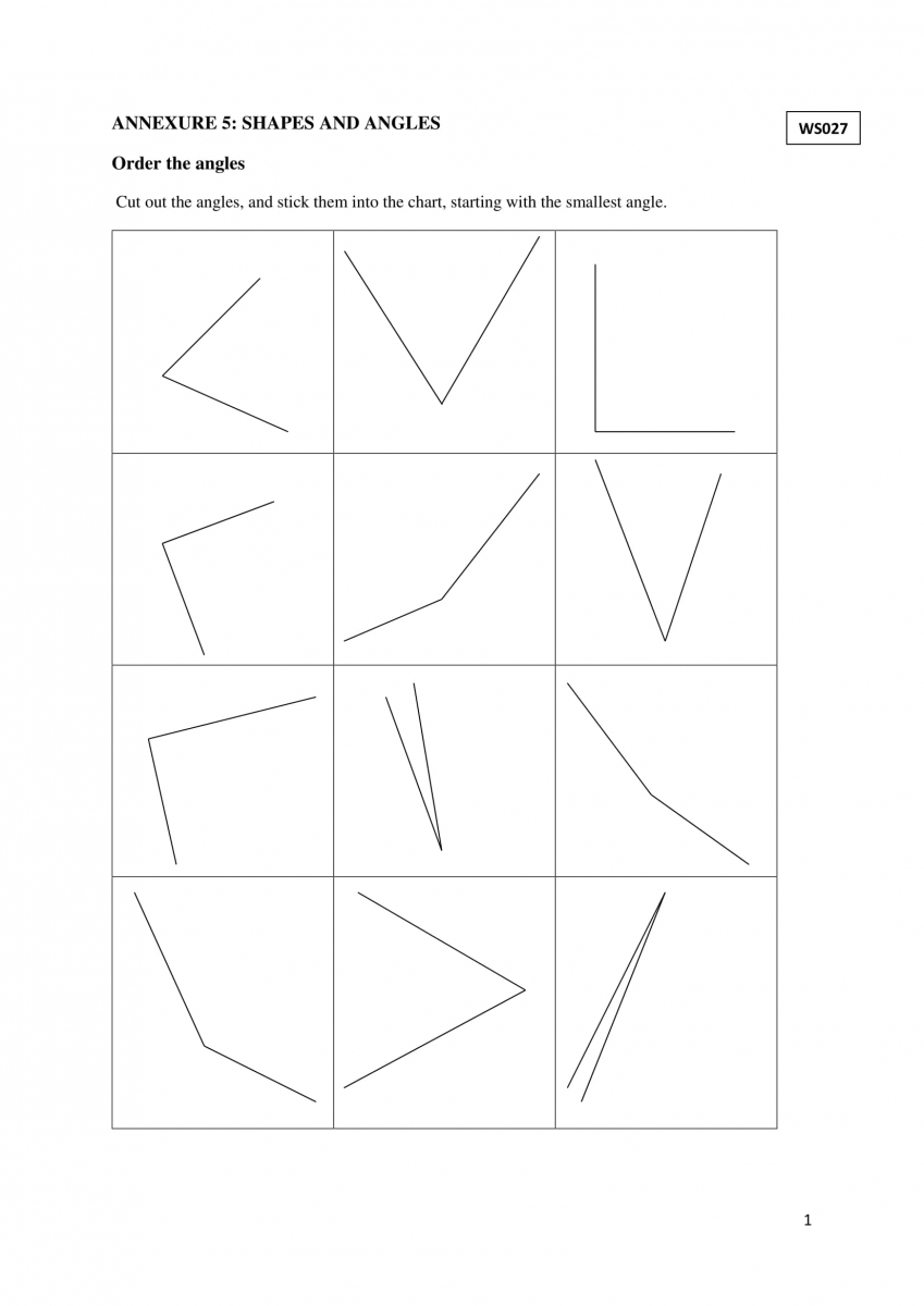 Grade 5 Shapes and Angles – Classify Angles Worksheet